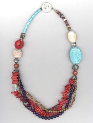gift idea: Necklaces Jewelry Ideas, Bijoux Collares Necklaces, Jewelry Native American Boho, Inspiration, Semi Precious Necklace, Jewellery, Gift Ideas, Multi Coloured Beads, Jewelry Design Ideas