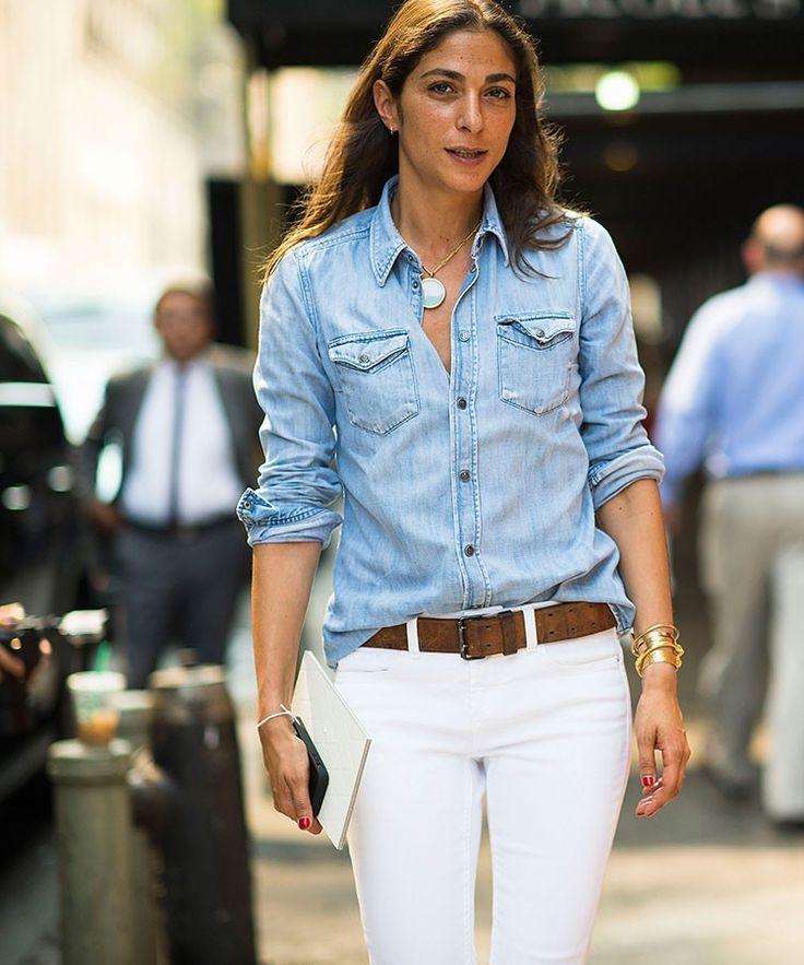 Capucine Safyurtlu in NYC rocking chambray shirt and white denim