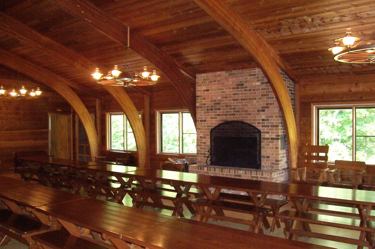 Gorgeous wood beams at the lodge at Bellevue State Park near Bellevue. #Iowa