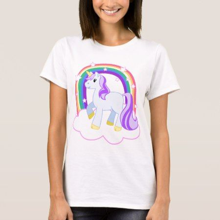 Cute Magical Unicorn with rainbow (Customizable!) T-Shirt - click/tap to personalize and buy