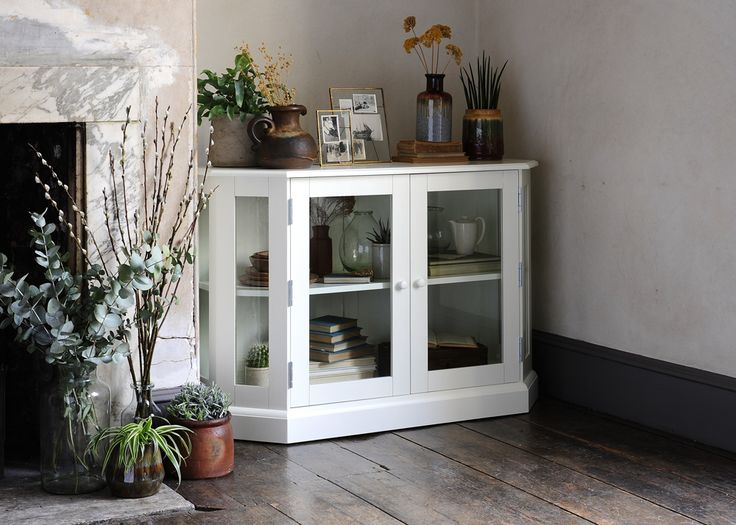 Country living, modern Country,  country style, white painted furniture, white display cabinet, rustic living room, wooden floors