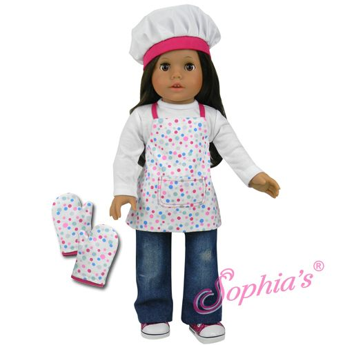Apron mittens hat set fits american girl and 18 quot dolls kitchen new