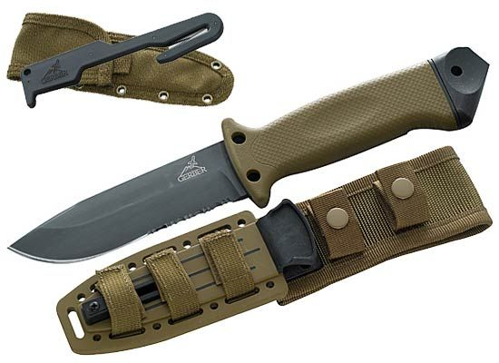 Gerber LMF 11 ASEK Infantry Knife with a v-cutter with its own separate sheath