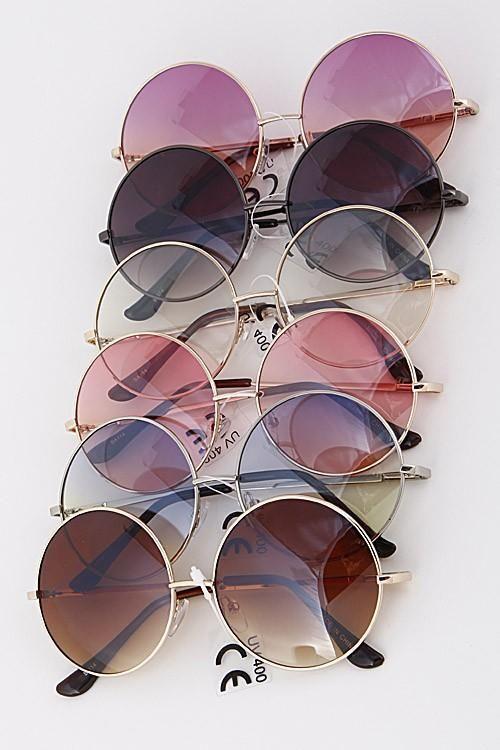 Round tinted fashion sunglasses