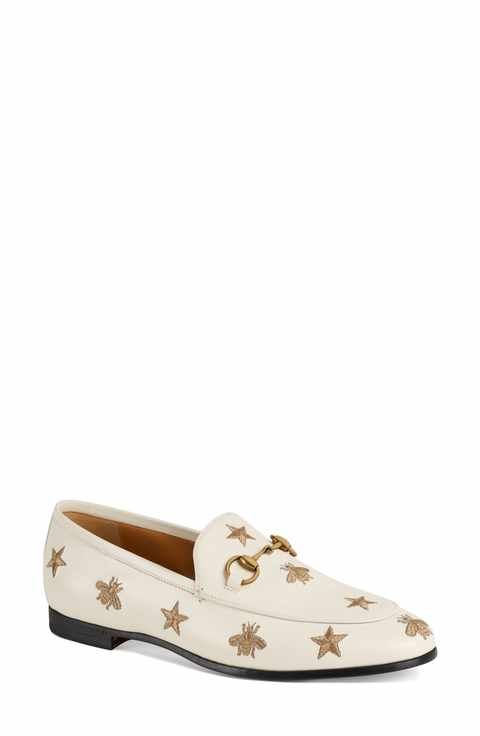 8a3e197d95f Gucci Jordaan Embroidered Bee Loafer (Women)
