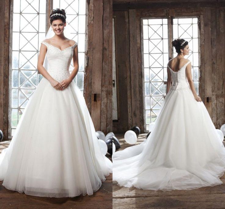 Модные 2015 сад платье выкл-плечу бальное платье белый искра свадебные платья с жемчугом романтические свадебные платья