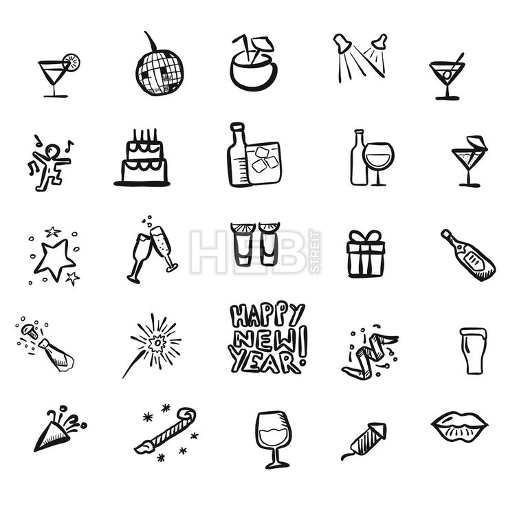 New Year Party Doodles by Hebstreits #stockimage #design
