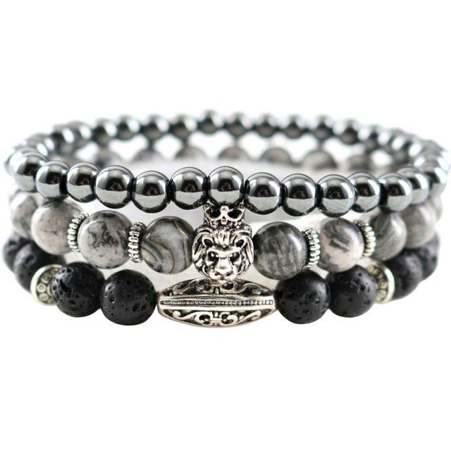 Sale Today $6.22, Buy New Map Natural Stones Hematite Lava Handmade Beaded Men Bracelets Lion Charm Women Strand Bracelets & Bangles Jewelry