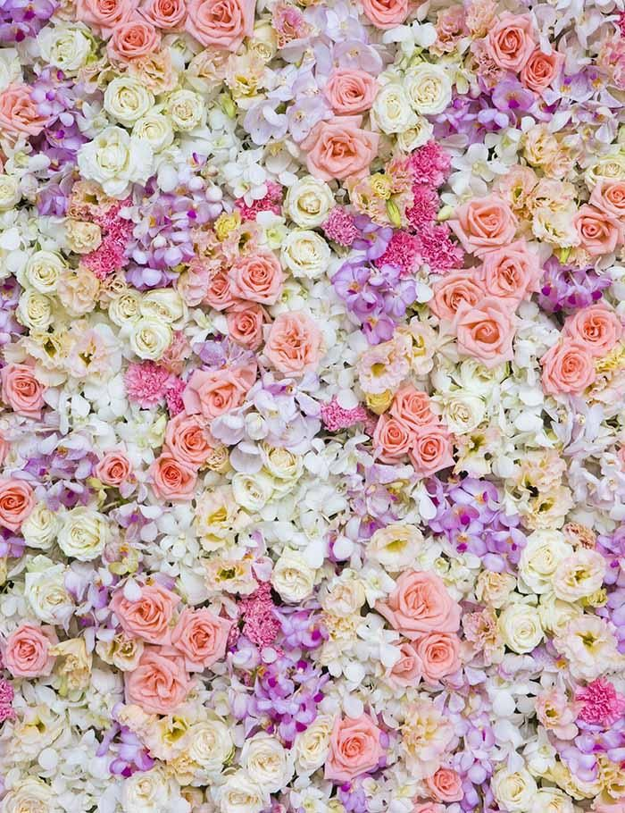 Purple Light Yellow Flower Wall For Wedding Photography