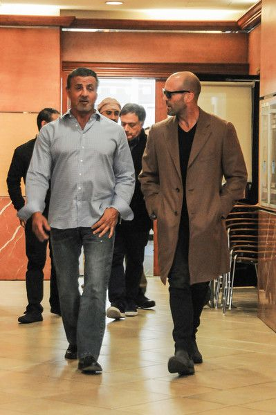 Jason Statham Photos Photos - Sylvester Stallone and Jason Statham are seen out together on December 7, 2016. - Sylvester Stallone and Jason Statham Hang Out