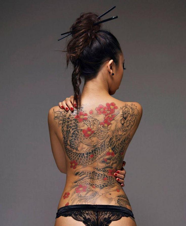 Tatouage d'un dragon japonais dans le dos dans Top 18 des tatouages dans le dos les plus beaux