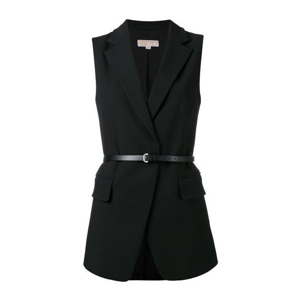 MICHAEL - MICHAEL KORS Belted Waistcoat ($325) ❤ liked on Polyvore featuring outerwear, vests, black, michael michael kors, belted vest and waistcoat vest