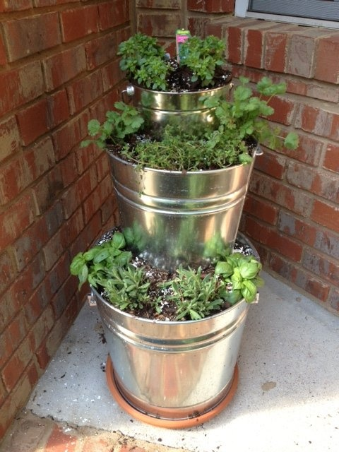 Cascading Herb Garden.     I purchased 3 galvanized steel buckets in graduated sizes from Lowe's.  Then punched about 10 holes in the bottom of each with a nail and hammer.     I filled each pail with compost and potting soil then planted:    bottom container - sweet basil and lavender  middle container - cilantro and thyme  top container - spicy globe basil    The water will filter down through the holes watering the tier below.