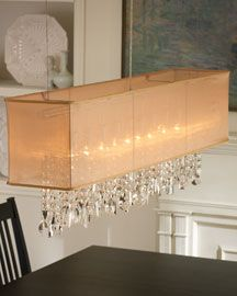 Horchow Mimi Linear Chandelier Unique Rectangular Chandeliers Faceted Crystals Extend Down Through Its Golden Organza Shade