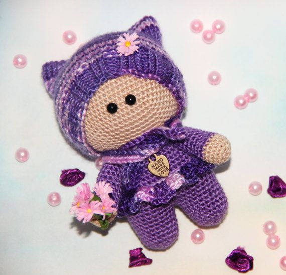 Crochet Doll in purple amigurumi doll Plush Doll Toy crochet