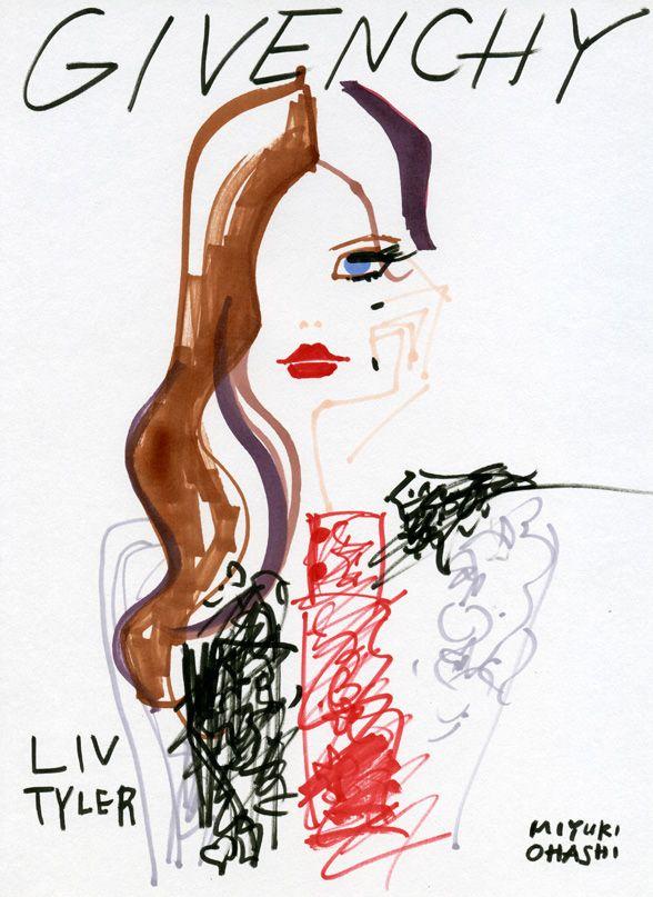"""Liv Tyler for Givenchy Makeup, 2011""  ジバンシィ・メイクアップラインの広告モデルを務めるリヴ・タイラー。黒、白、赤のコントラストが素敵。"