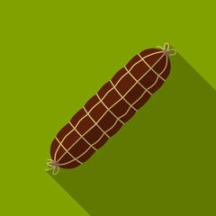 Smoked sausage flat icon illustration