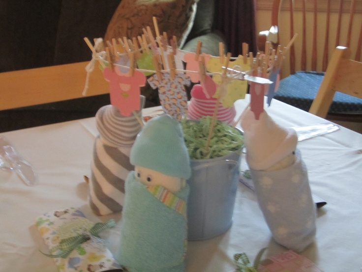Baby shower center pieces small buckets with skewers as for Baby clothesline decoration