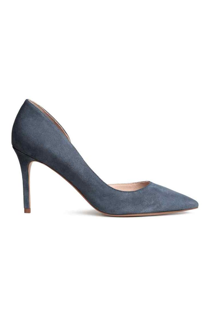 Suede court shoes - Dark grey-blue - Ladies   H&M