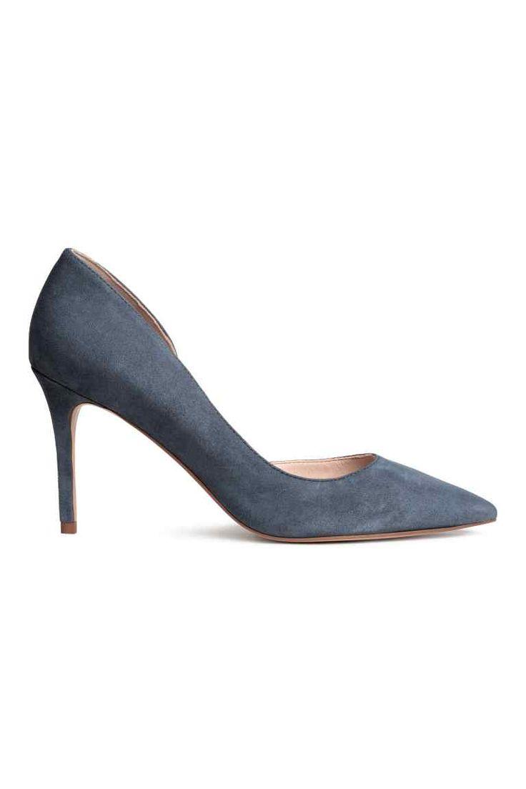 Suede court shoes - Dark grey-blue - Ladies | H&M