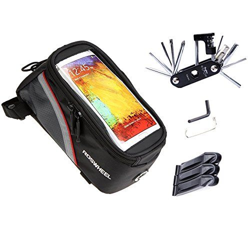 Bike Multifunction Tools - Bike Repair Bag Set WOTOW Bicycle Frame Pannier Cell Phone Bag Cycling Front Top Tube 57 inch Mobile Phone Touch Screen Holder with Multi Function Tool Kit Hex Key Wrench Tire Pry Bars -- Want to know more, click on the image.