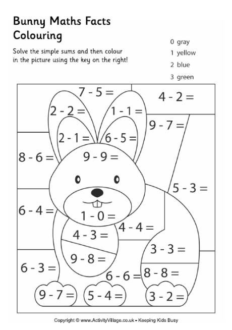Bunny maths facts colouring page