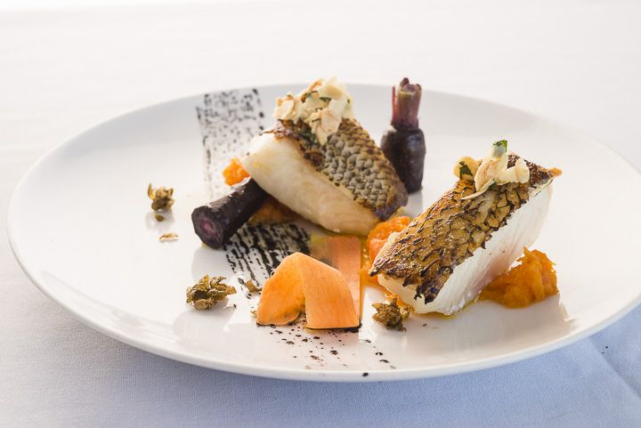 Patagonian toothfish, almonds, parsley, popped capers, heirloom carrots