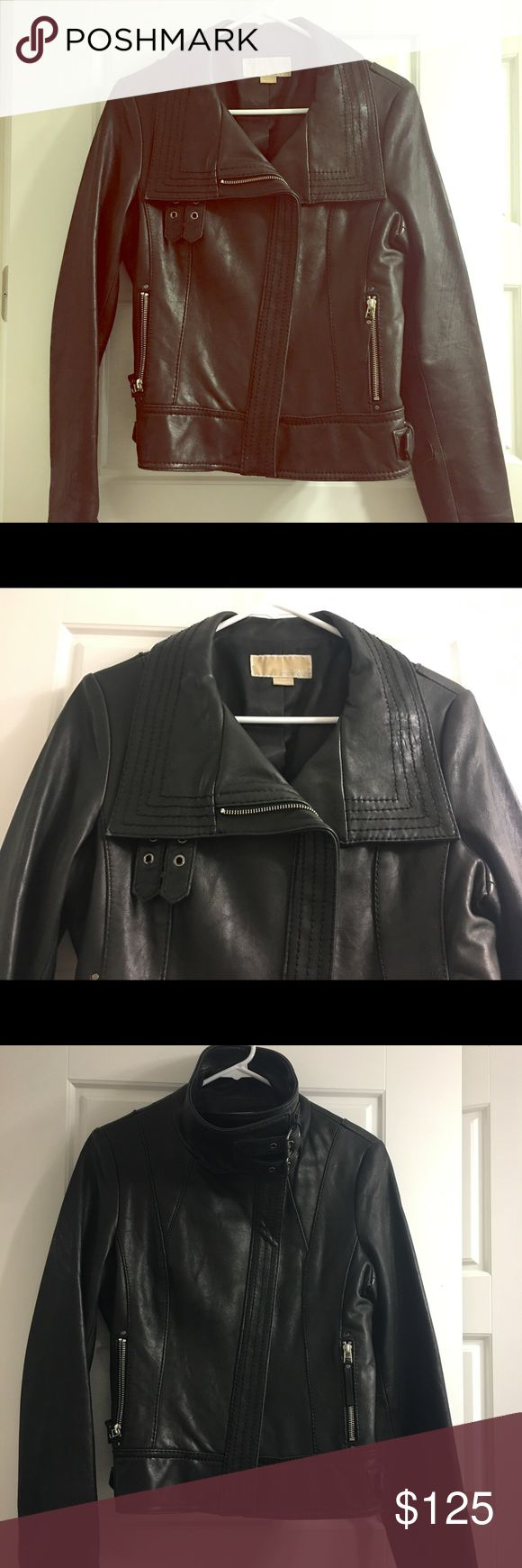 Michael Kors Leather Biker Jacket Get ready for the fall weather with this MICHAEL by Michael Kors leather biker jacket. Very stylish over a tshirt or chunky sweater. Small rip in leather on one of the sleeves, easily repaired. MICHAEL Michael Kors Jackets & Coats