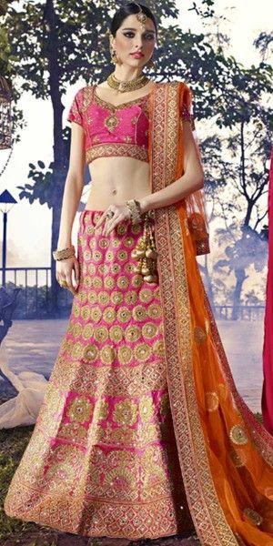 Excellent Pink And Yellow Silk Designer Lehenga Choli With Dupatta.