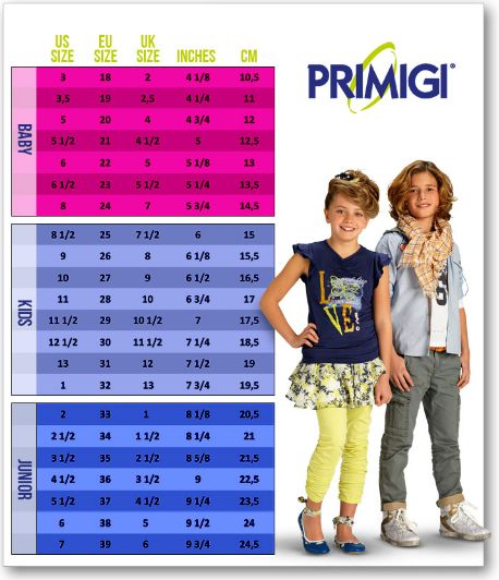 Primigi Toddler Shoes Size Chart