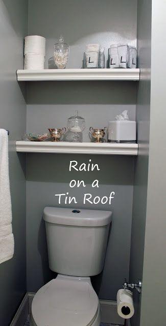 Built-In Bathroom Shelving {rainonatinroof.com}
