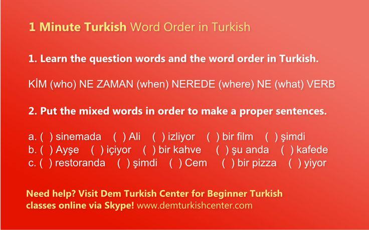 1 Minute Turkish Lesson: Word Order in Turkish #turkish #turkishlanguage #turkishlessons #freeturkishlessons #languages #foreignlanguages #languagelearning #turkey