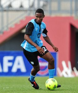 Mpho S. Kgaswane of Botswana during the Cosafa u20 Youth Championship Group D game between Botswana and Swaziland at Setsoto Stadium, Maseru in Lesotho on 3 December 2013 ©Ryan Wilkisky/BackpagePix