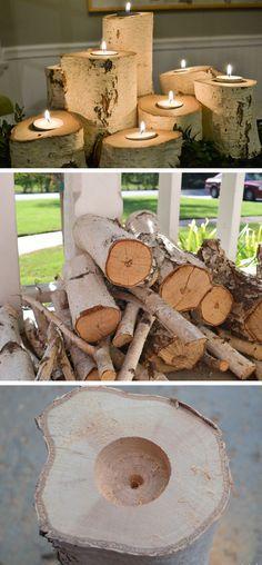 Tolle Kerzenhalter aus Baumstämmen. Teelichter in Bäumen. >> Tree Stump Candle Holders | 35 DIY Fall Decorating Ideas for the Home | Fall Craft Ideas for Adults