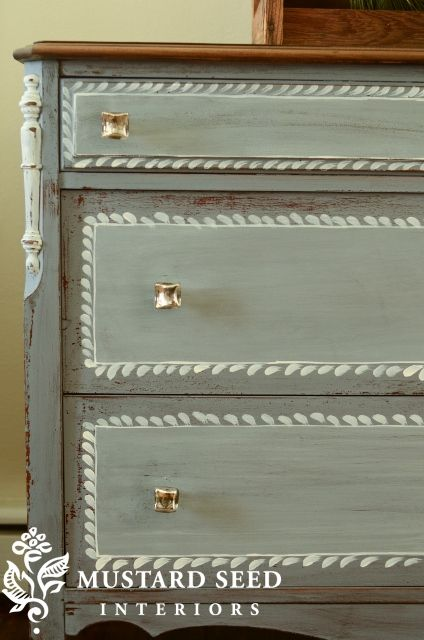 Dresser body in Dried Lavender and lighter panels washed with watered down iron stone. Adding Details to Drawer Fronts with Paint - Miss Mustard Seed