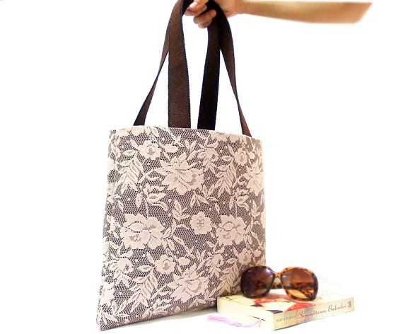 Tote Bag, borsa di pizzo, rosa, marrone, pizzo rosa, Hobo Bag, borsa di feltro, Tablet sacchetto, Pocket bag, borsa morbida, Shopping Bag, regalo di San Valentino on Etsy, 48,99€