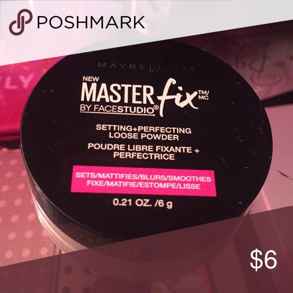 setting /loose perfecting powder Maybelline MasterFix studioface setting powder! Sets Mattifies blurs and smoothes your face! Selling bc I have one too many setting powder Maybelline Makeup Face Powder