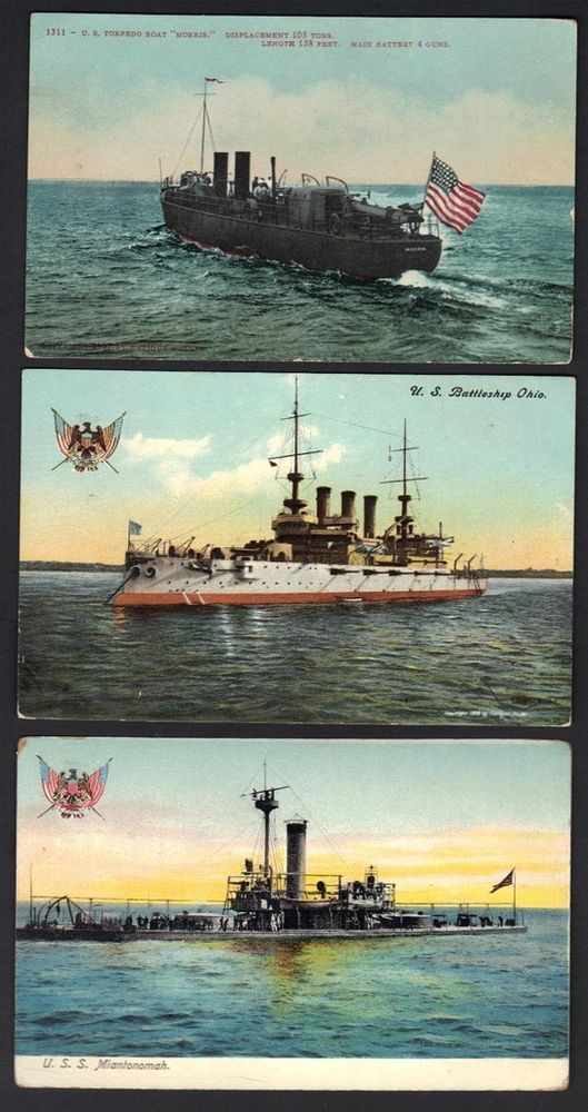 US 1900s 3 NAVY P. US BATTLESHIP OHIO USS MINIAN TO NOMAH US TORPEDO BOAT MORRIS