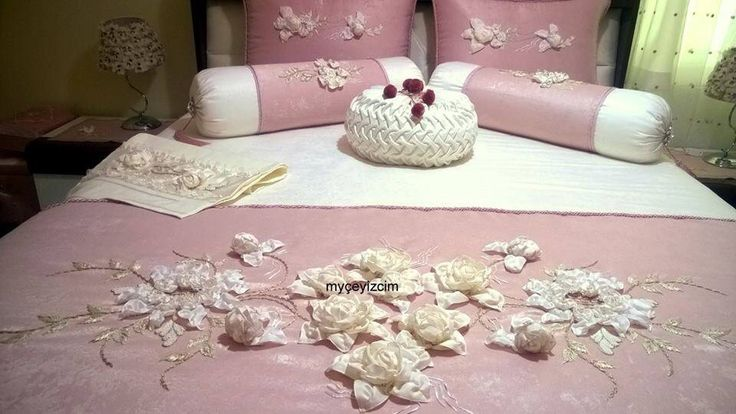 Ribbon flower spread and pillows. Facebook