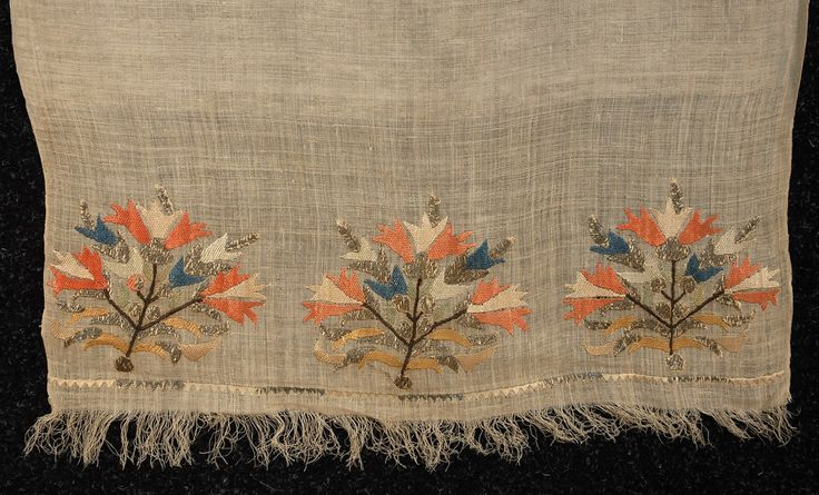 LOT 163 TURKISH EMBROIDERED TOWEL, 19th C. - whitakerauction