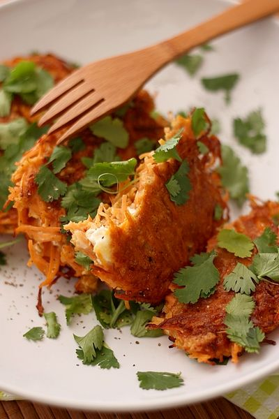 Carrot cakes with cheese and cilantro