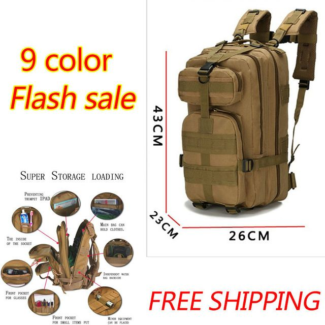 We love it and we know you also love it as well 2017 Outdoor Military Backpack Tactical Bags Camping Hiking Trekking Bag Men Sport Rucksacks Militari Molle 30L Camouflage Bag just only $22.98 with free shipping worldwide  #sportsbags Plese click on picture to see our special price for you