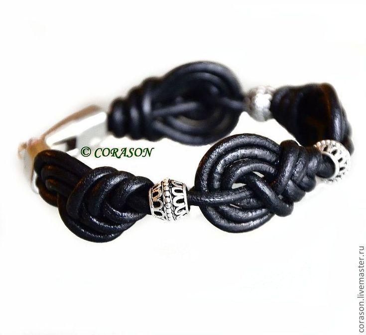 """Купить Браслет """"ВИНТАЖ"""" - черный, плетеный браслет, натуральная кожа, кожаный шнур, wire wrapping"""