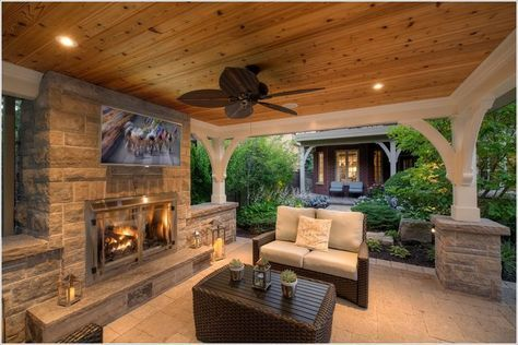Outdoor Stone Fireplaces | lanterns outdoor TV pavilion recessed lighting Stone fireplace stone …