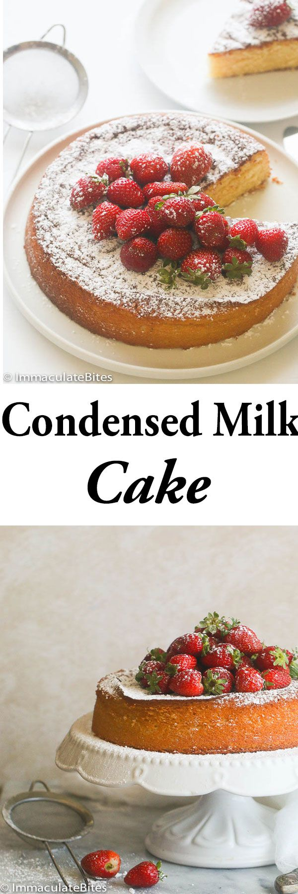 Condensed Milk Cake-Quick, Tender and easy Cake  that will impress at the dinner table or a party without you slaving in the kitchen. Do you have a can of condensed milk in the pantry? Then turn it into something delectable like this cake here. Condensed milk cake is definitely one of those desserts and …