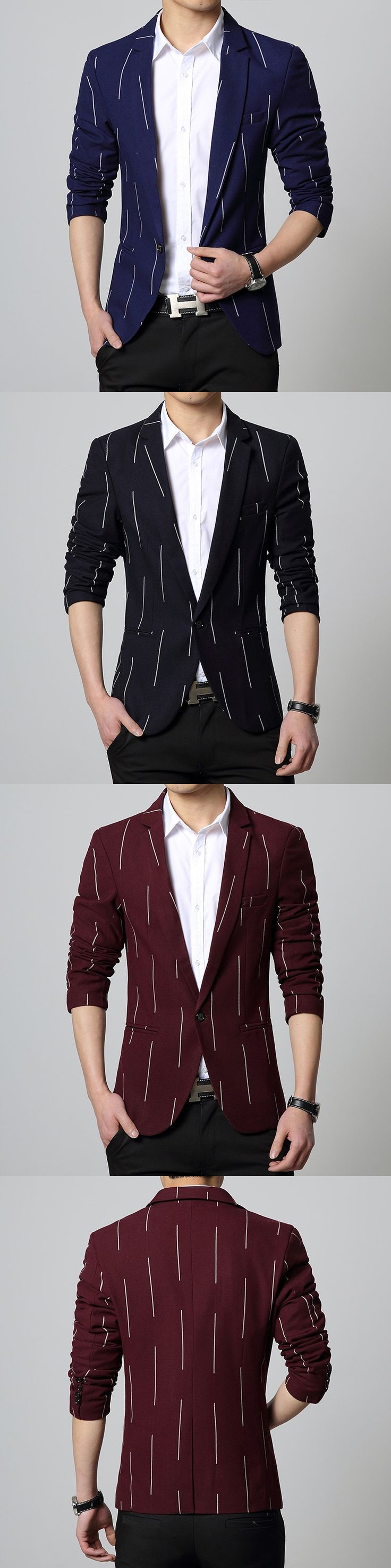 Mens casual blazer slim fit suit jacket red coat one button up blue Male clothing Spring new 2016 Korean fashion drop shipping