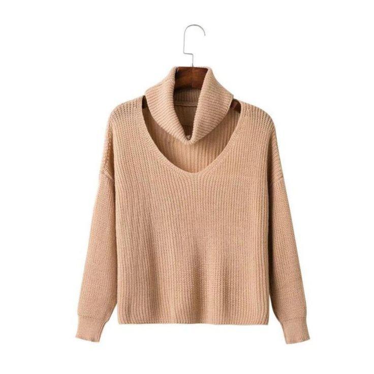 Beige Knit Long Sleeve Sweater (Female) // Zargara
