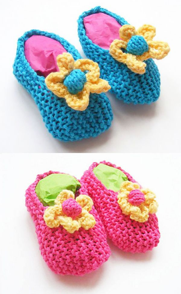 1f22a15fc Free Knitting Pattern for Baby Slippers with Flowers - These garter ...