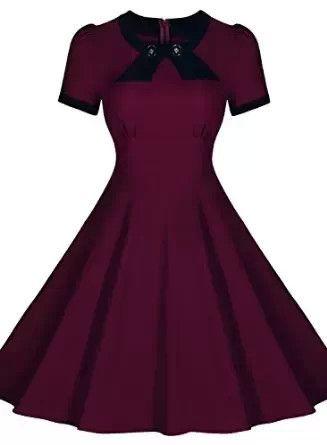 Burgandy Short Sleeve Vintage Dress