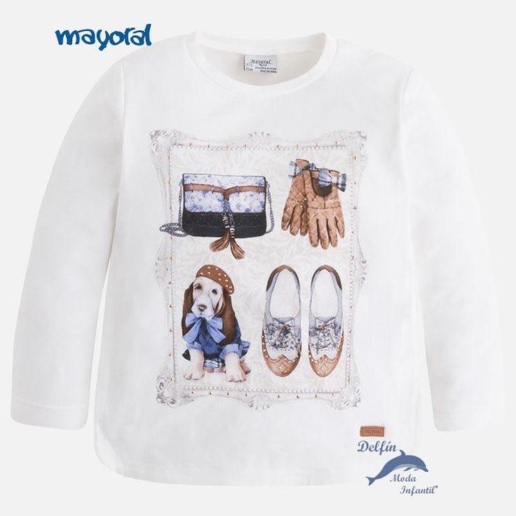 Camiseta manga larga de niña MAYORAL serigrafia perrito
